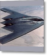 Northrop Grumman B-2 Spirit Stealth Bomber With Double Border Metal Print