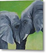 Nose To Nose In Green Metal Print