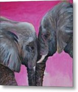 Nose To Nose In Pink Metal Print