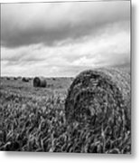 Nostalgia - Hay Bales In Field In Black And White Metal Print