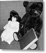 Nostalgic Doll And Bear With Reading Book Metal Print