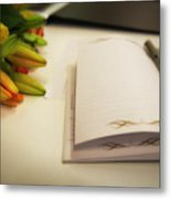Notebook And Pen Metal Print
