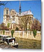 Notre Dame And The Seine Painterly Metal Print