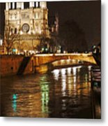 Notre Dame Bridge Paris France Metal Print