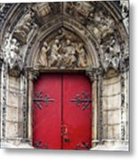 Notre Dame Cathedral Side Door Architecture In Paris Metal Print