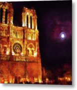 Notre Dame In The Autumn Moonlight Metal Print