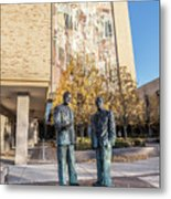 Notre Dame Library And Statue Metal Print