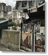 Notre Dame Street Art Metal Print