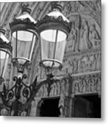 Notre Dame Street Lights Paris France Black And White Metal Print