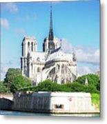 Notre Dame Over Water Metal Print
