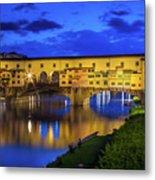 Notte A Ponte Vecchio Metal Print