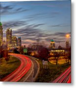 November Sun Setting Over Charlotte North Carolina Skyline Metal Print