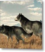 November Wolves Metal Print