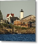 Nubble Light House Beach View Metal Print