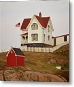 Nubble Lighthouse Shed And House Metal Print