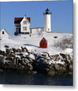 Nubbles Lighthouse Metal Print