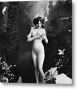 Nude And Butterflies, C1900 Metal Print