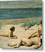 Nude Bathers On The Beach Metal Print