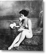 Nude Drinking Tea, 19th Ct Metal Print