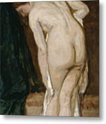 Nude Drying Herself After A Bath Metal Print