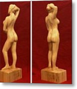 Nude Female Impressionistic Wood Sculpture Donna Metal Print by Mike Burton