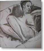 Nude In Chair Metal Print