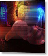 Nude In Glitchscape Metal Print