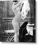 Nude In Stockings, C1880 Metal Print