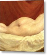 Nude Lying On A Sofa Against A Red Curtain Metal Print