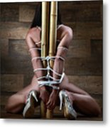 Nude, Tied To A Bamboo Tube - Fine Art Of Bondage Metal Print by Rod Meier