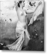 Nude With Butterflies Metal Print