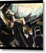 Nude With Chaps On Harley Metal Print