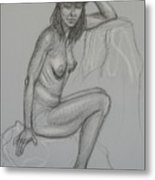 Nude With Hat 1 Metal Print