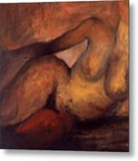 Nude With Red Thigh Metal Print