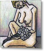 Nude With White Flowers Metal Print