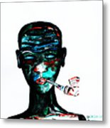 Nuer Lady With Pipe - South Sudan Metal Print