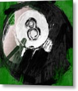 Number Eight Billiards Ball Abstract Metal Print