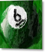 Number Six Billiards Ball Abstract Metal Print