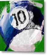 Number Ten Billiards Ball Abstract Metal Print