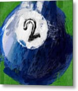 Number Two Billiards Ball Abstract Metal Print