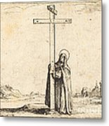 Nun Embracing The Holy Cross Metal Print