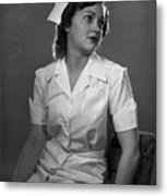 Nurse Rembrandt Lighting Metal Print