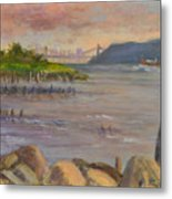 Ny Skyline And Gwb From Hastings On Hudson Metal Print