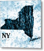 Ny State Map  Metal Print