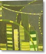 Nyc In Deep Green Metal Print