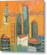 Nyc In Orange Metal Print
