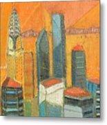 Nyc In Orange Metal Print