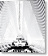 Nyc- Inside The Oculus In Black And White Metal Print