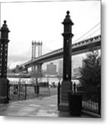 Nyc Manhattan Bridge Bw Metal Print