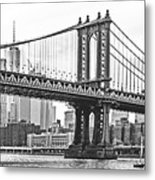 Nyc Manhattan Bridge In Black And White Metal Print